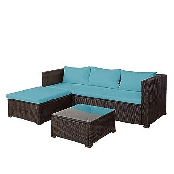 Amazon.com: HomeLava - Juego de muebles de mimbre para patio ...