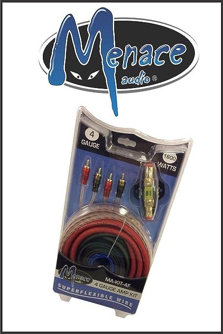 amazon com menace audio 4 guage amp kit car electronics rh amazon com