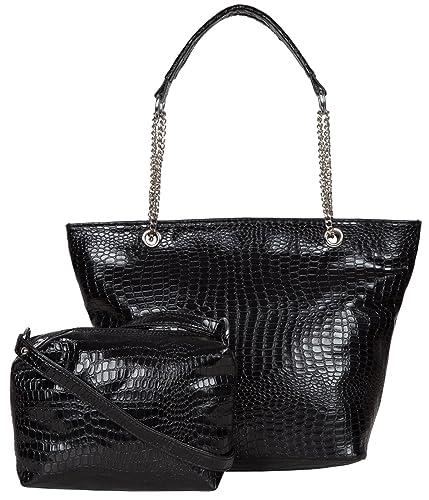 ADISA Black Croco Women Handbag with Sling Bag Combo