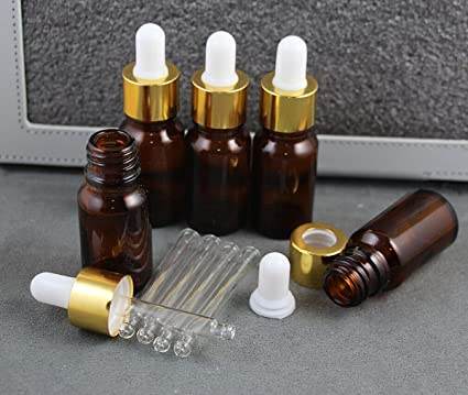 18b57a06b815 Amazon.com: WellieSTR 5 Pieces 10ml Amber Small Glass Dropper ...