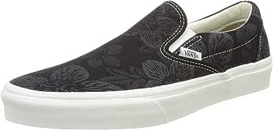 Vans VA38F7MU2 Unisex Floral Jacquard Classic Slip On Shoes, Black/Blanc De Blanc, 10.5 M US Men/12 M US Women