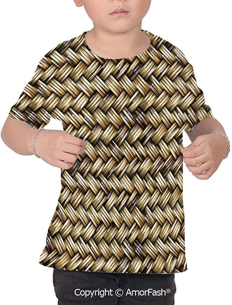 PUTIEN Abstract Colorful Boys and Girls Soft Short Sleeve T-Shirt,Rattan Basket Weave P