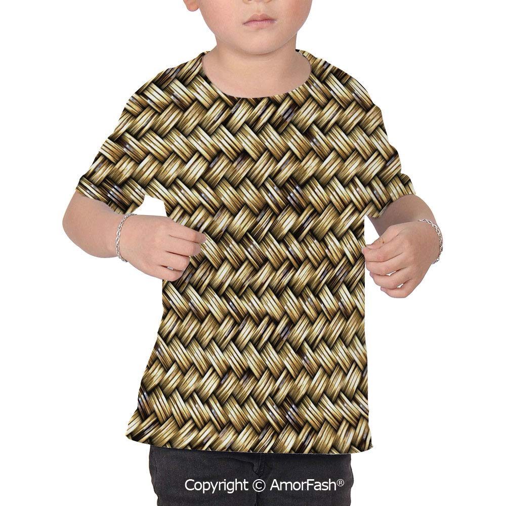 PUTIEN Abstract Crew Neck for Ultimate Comfort T-Shirt,Rattan Basket Weave
