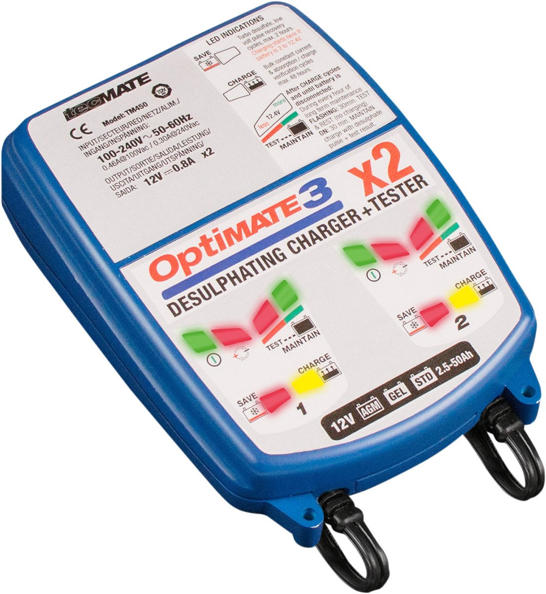 OptiMATE 3 x 2 BANK, TM-451,  2-bank x 7-step 12V 0.8A Battery saving charger-tester-maintainer