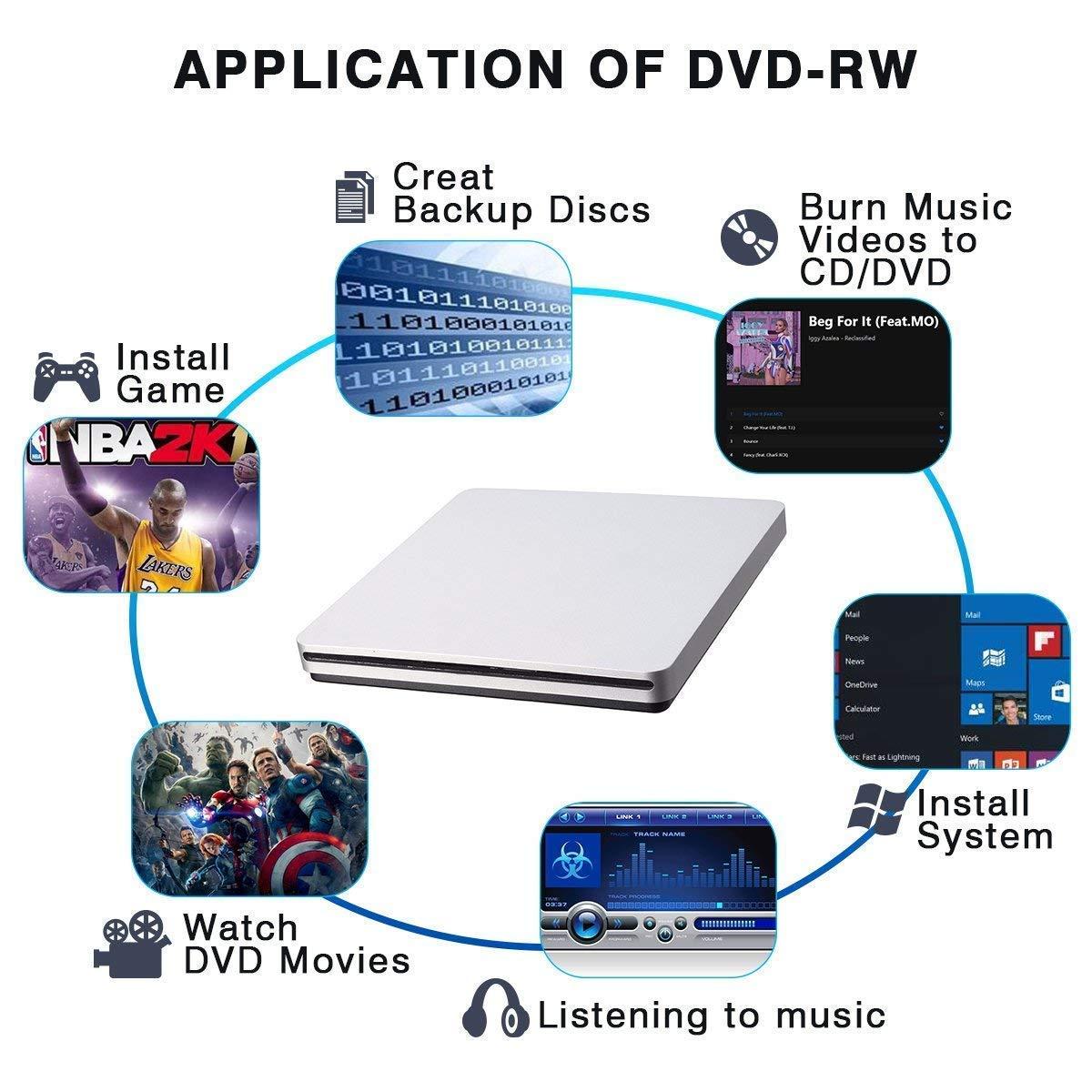 Unidad de DVD externa, BEST Runner USB 2.0 DVD-RW CD/grabadora de ...