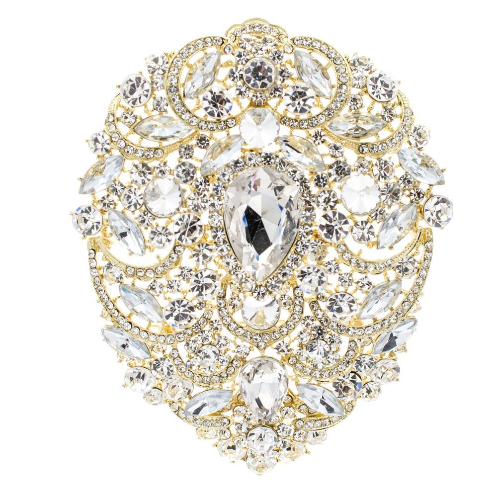 SEPBRIDALS SEP 4.9IN Rhinestone Crystals Large Egg Shape Brooch Broach Pins Women Jewelry Accessories 4045 (Gold)