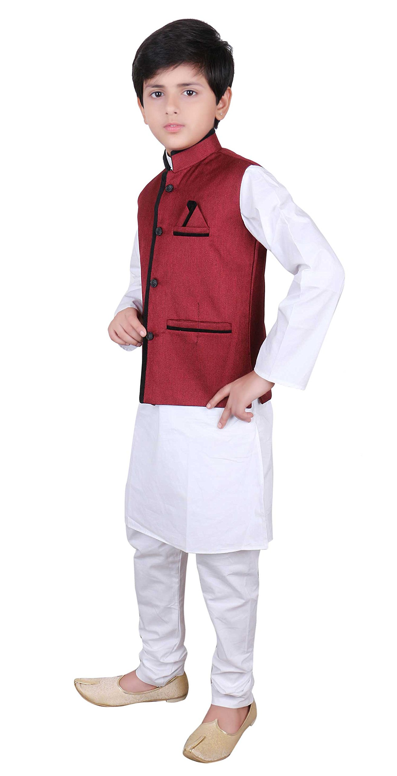 Boys Indian Modi Nehru Gandhi Style Maroon only Waistcoats in Jute for Bollywood party 008 (2 (2 yrs), Maroon)