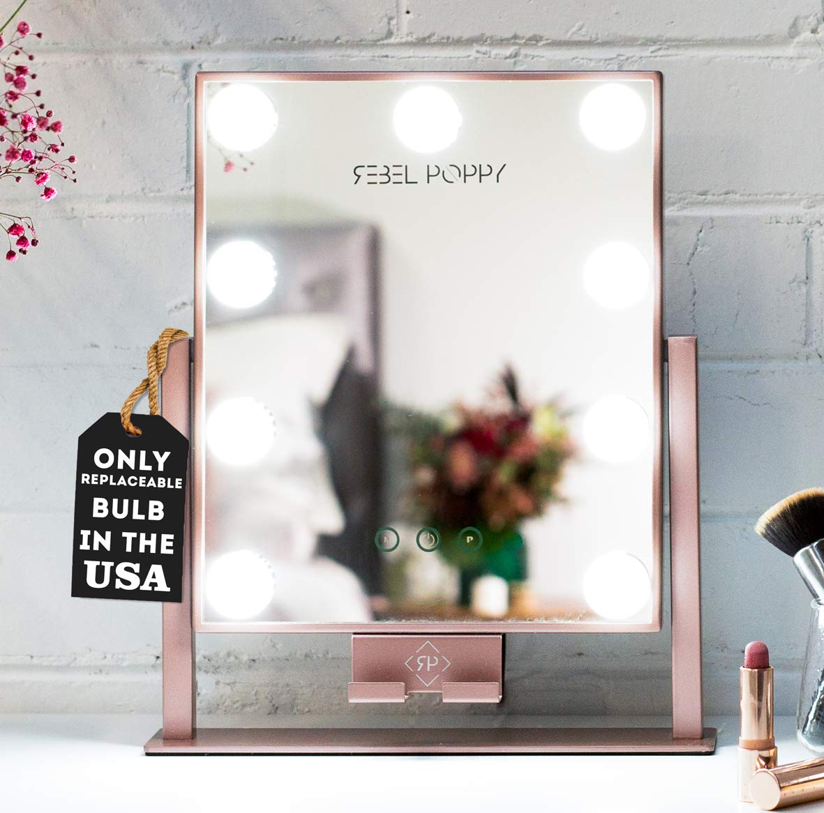 Rebel Poppy Lighted Vanity Makeup Mirror with LED Lights and Phone Mount, 3 Lighting Touch Control, 14.5 x 12 - Counter Top Mirrors - Mini Rose Gold