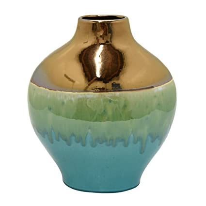 Amazon Three Hands 16 Ceramic Glaze Vase In Green Home Kitchen