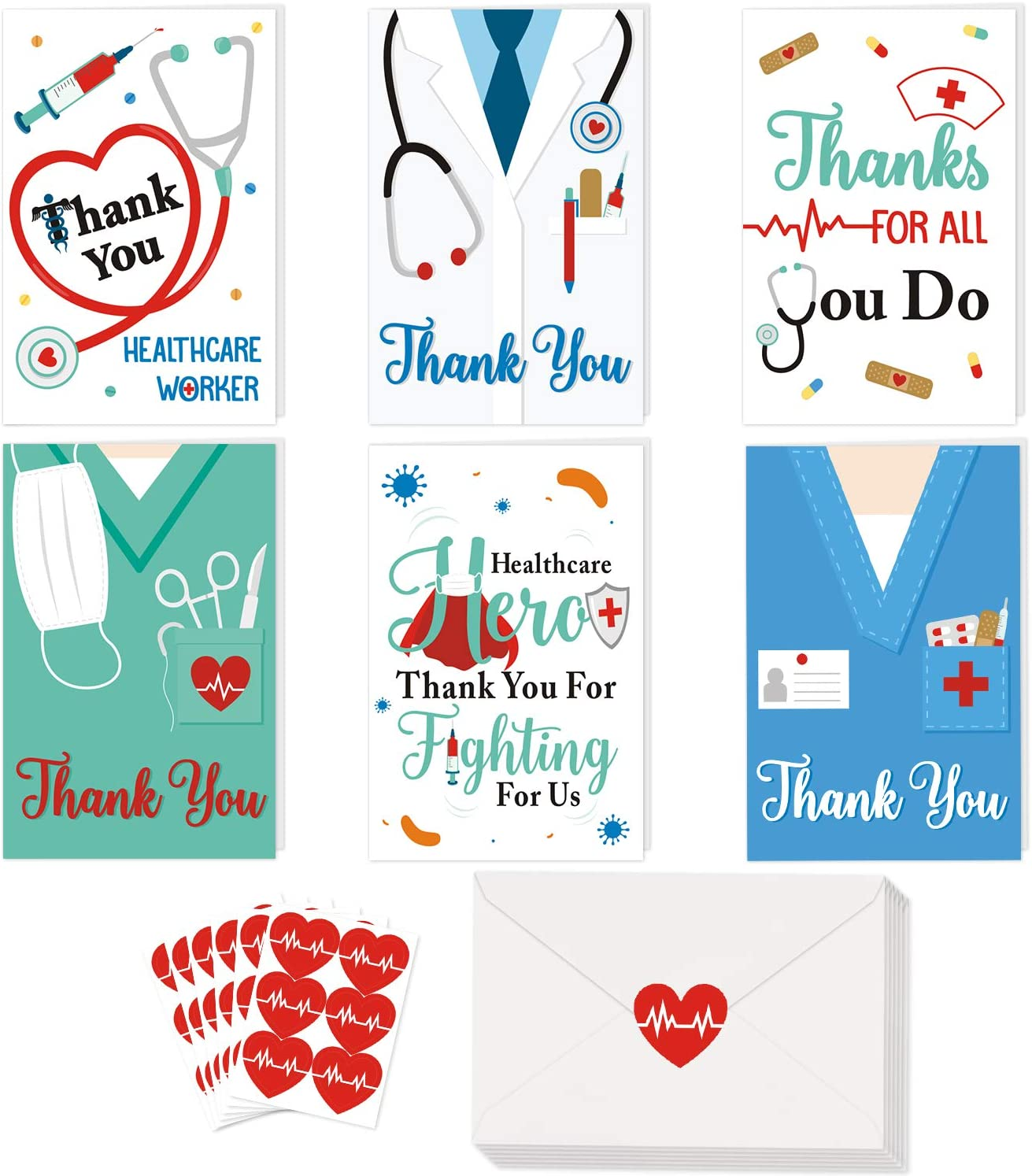 36 Pack Healthcare Workers Thank You Card Medical Appreciation Card for Nurses, Doctors EMTs Essential Workers Gift Card Set with Envelopes and Stickers