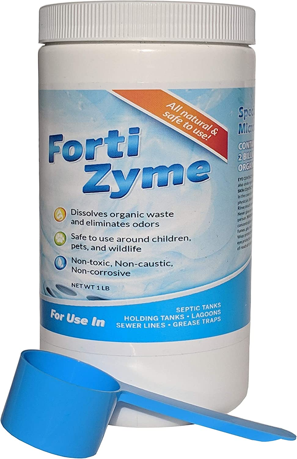 FortiZyme Organic Drain Cleaner and Septic Treatment - 1lb Canister With Scooper Contains up to 20 Months Treatment - Perfect for Septic Tanks, Clogged Drains, Grease Traps, Gray and Black Water Tanks