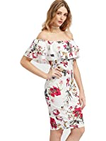 Floerns Women's Floral Ruffle Off Shoulder Party Sexy Bodycon Dress