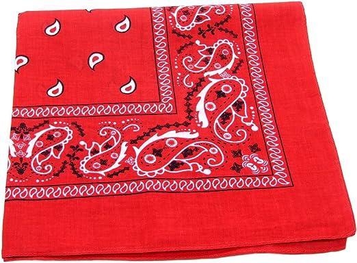 100% algodón doble cara Impresión Paisley Bandana Bufanda, pañuelo para la cabeza, color rojo 22