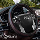Valleycomfy 15.75 inch Auto Car White Leather Steering Wheel Covers- for F-150