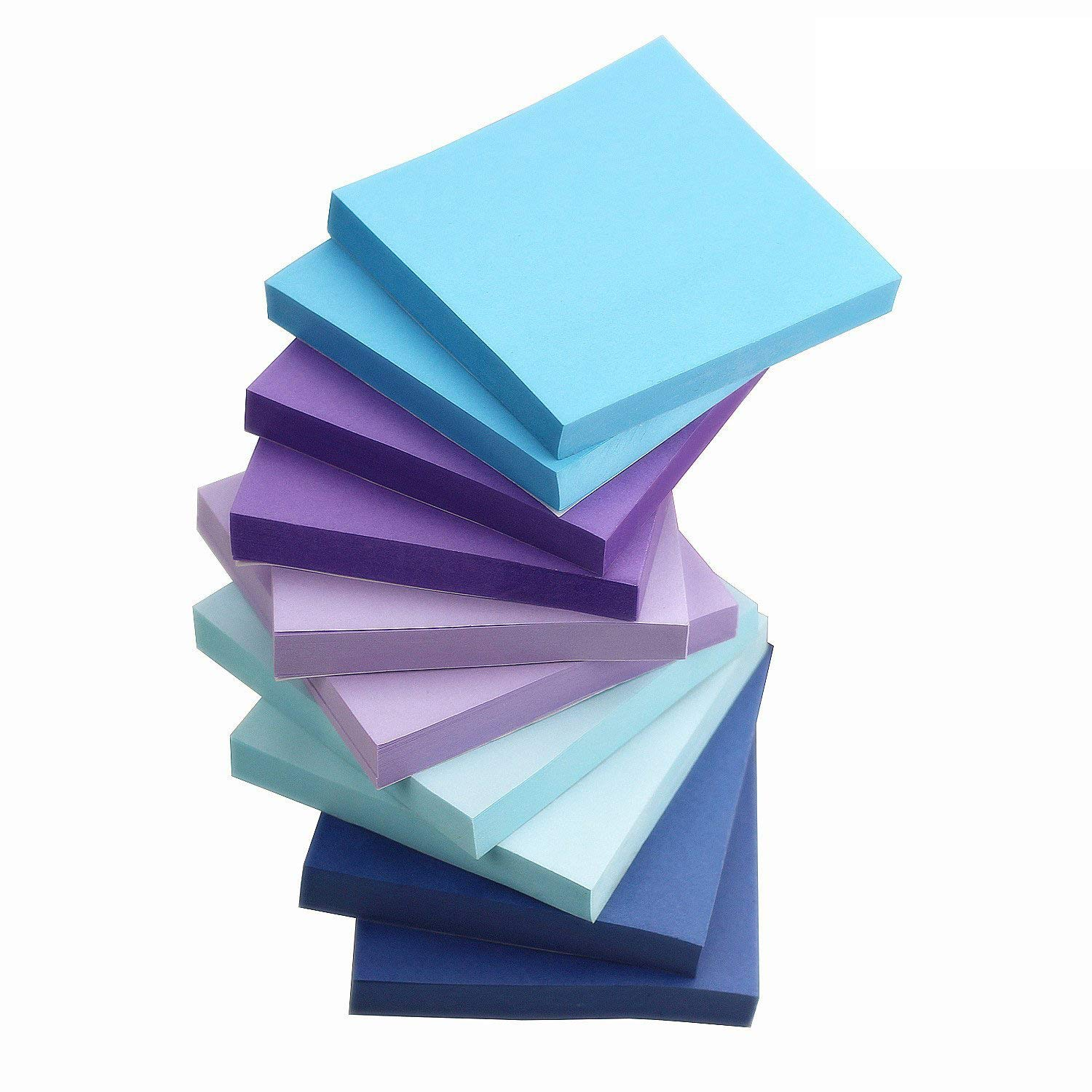 ZZTX Sticky Notes Assorted Watercolor Self-StickNotes 10 Pads/Pack 100Sheets/Pad 3 inch X 3 inch Easy Post - Sticky Issue Is Improved