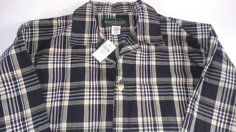 YUNY Men Classic Printed Plaid Regular-Fit Tops Outdoors Sport Shirt Grey XL