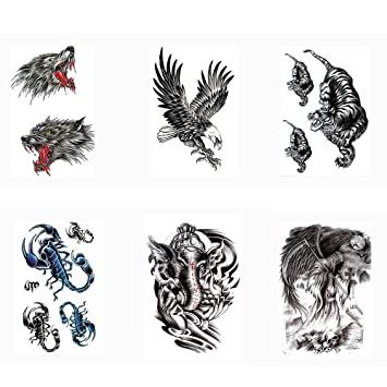 b426322a7 Pinkiou Tattoo Stickers Adults Body Arm Leg Chest Back Makeup Animal  Stickers for Men Women (