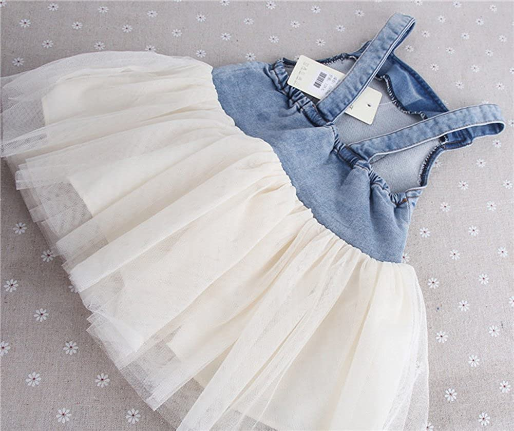 Kids Baby Girls Clothes One-piece Dress Summers Denim Tulle Overalls