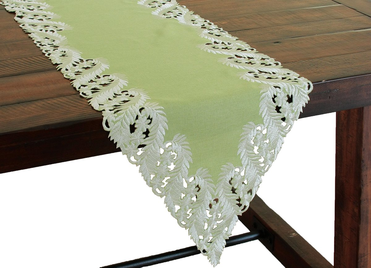 Xia Home Fashions Laurel Embroidered Cutwork Spring Table Runner, 15 by 72-Inch, Green