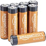 AmazonBasics 8 Pack AA High-Performance Alkaline Batteries, 10-Year Shelf Life, Easy to Open Value Pack
