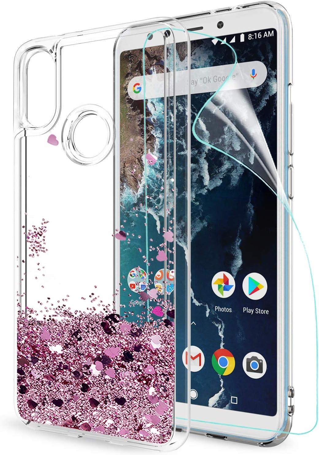 LeYi Funda Xiaomi Mi A2 / Mi 6X Silicona Purpurina Carcasa con HD Protectores de Pantalla, Transparente Cristal Bumper Telefono Gel TPU Fundas Case Cover para Movil Xiaomi Mi A2 ZX Oro Rosa