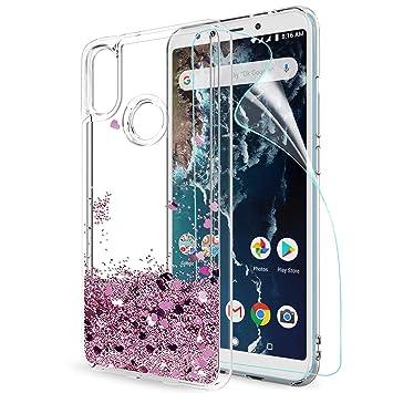 LeYi Funda Xiaomi Mi A2 / Mi 6X Silicona Purpurina Carcasa con HD Protectores de Pantalla, Transparente Cristal Bumper Telefono Gel TPU Fundas Case ...