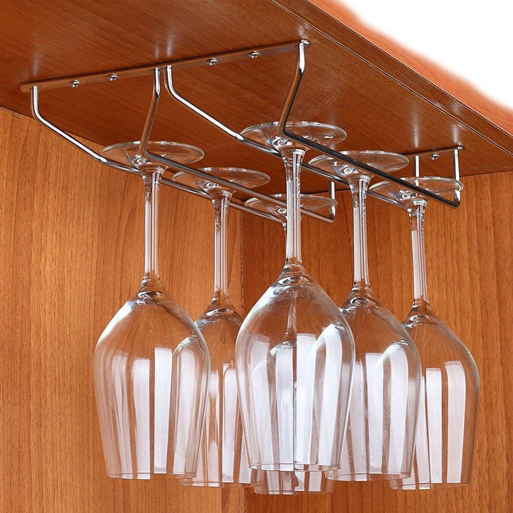 DealMux acero inoxidable pared de la cocina que cuelga de la Copa de almacenamiento del vidrio de vino del estante del sostenedor del tono de plata