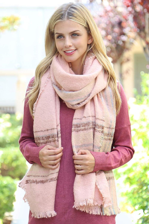 Womens Shawl Wrap Warm Scarf Cozy Oblong//Plaid Blanket//Stripe Light Circle Infinity