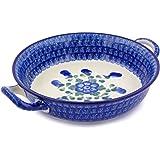 Polish Pottery Round Medium Baker with Handles made by Ceramika Artystyczna (Blue Poppies)
