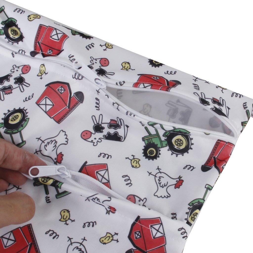 Baby Wasserdicht Rei/ßverschluss Wiederverwendbar Tuch Windel Tasche Druckknopf Tote Farm Muster