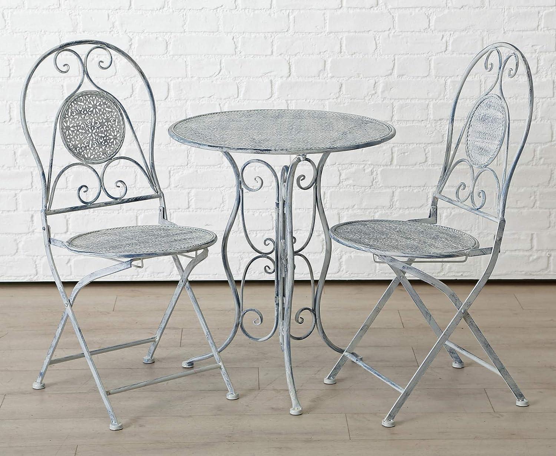 Homeshop - Juego de Mesa y sillas para jardín, Color Gris y Blanco
