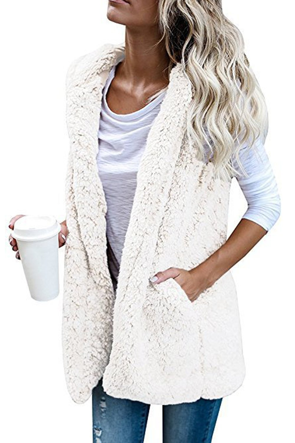Women Elegant Hooded Open Front Hairy Top Blouse Vest With Pockets CAAOYP008