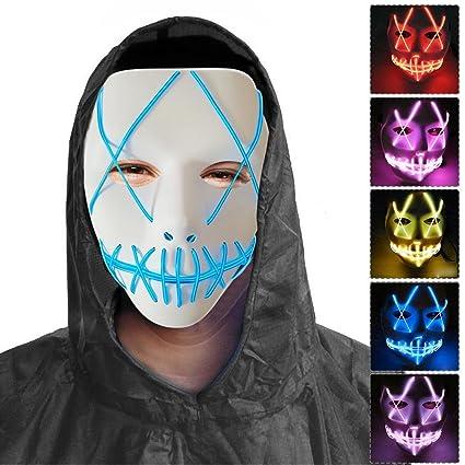 PROKTH Mascaras de Halloween Mascaras de la Purga Terror Disfraz la Purga Mujer Mascara led Hombre