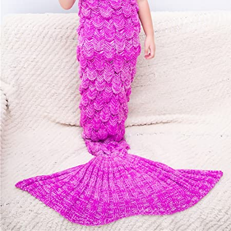 Mermaid Tail Blanket Children Crocheted Cocoon Sofa Beach Quilt Rug