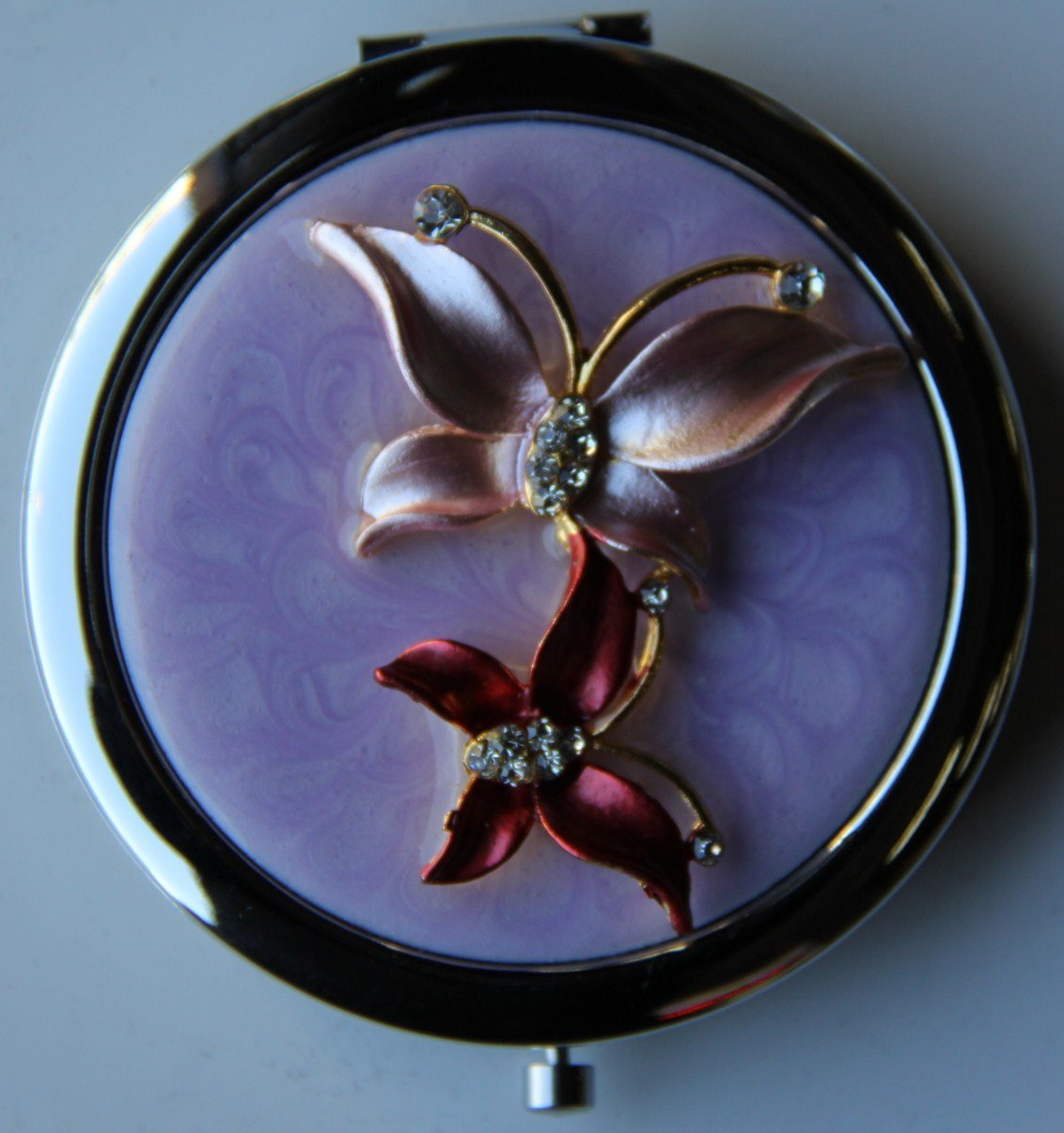 Purse Handbag Double Compact Cosmetic Mirror – Two Jeweled Butterflies