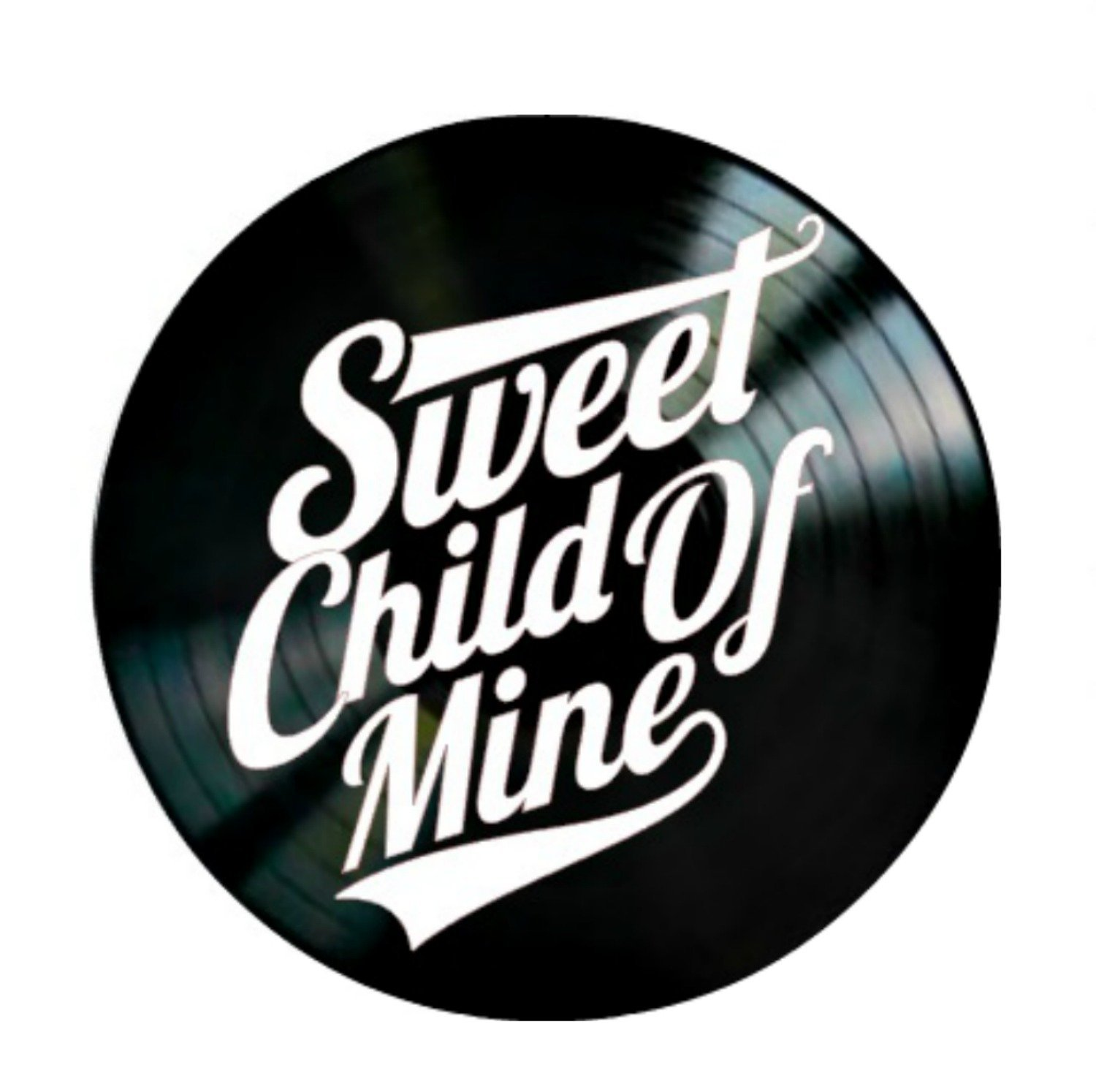 Sweet Child of Mine song lyrics by Guns N'Roses on a Vinyl Record Album Wall Art
