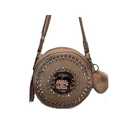 Betty Boop Messenger Bag with Pom Keychain Holder - Oyster Beige