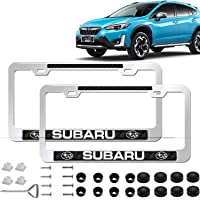 2pcs Newst Subaru Logo Silver Stainless Steel License Plate Frame with Carbon Fiber Gloss Finish Carbon Weave, with…