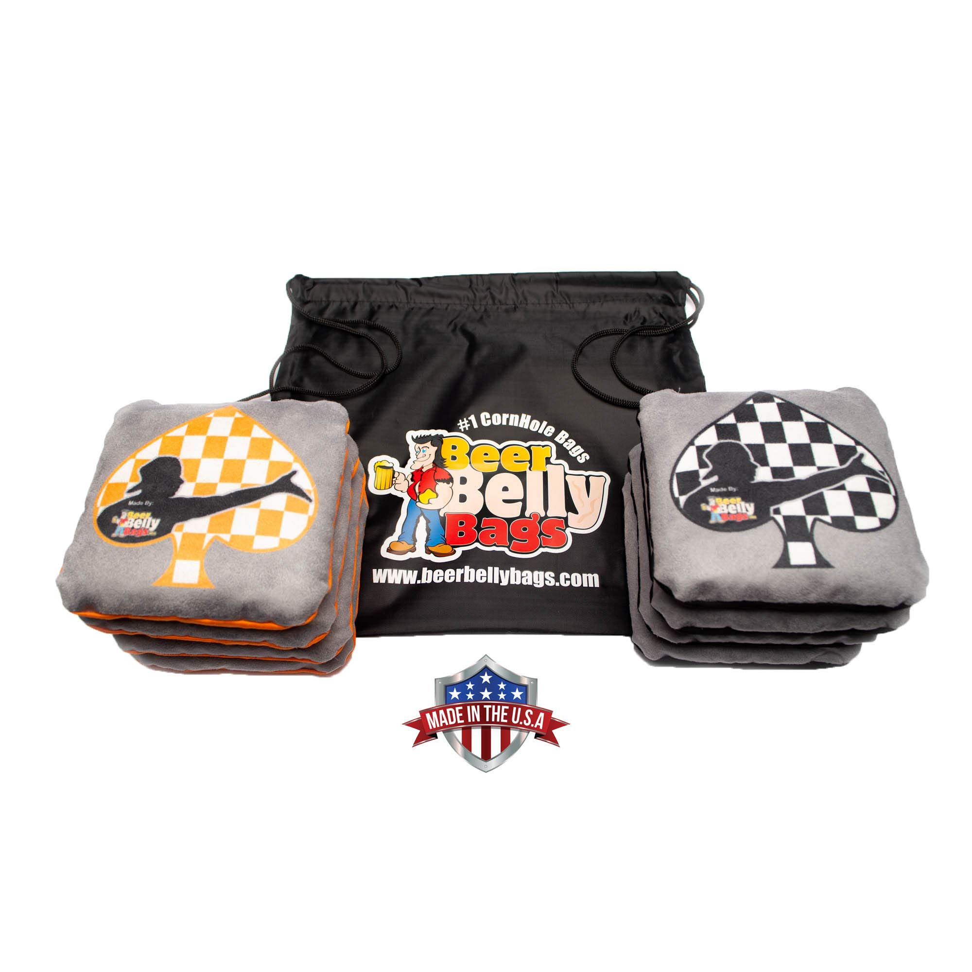 Beer Belly Bags Cornhole - Performance Series 8/pcs ACL Approved Resin Filled - Double Sided - Sticky Side | Slick Side (Spades) by Beer Belly Bags