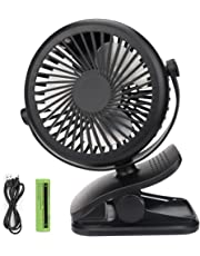 USB Fan, Telgoner Quiet Portable Clip Personal Mini Desk Fan with Rechargeble Battery, 3 Speed 360 Adjustable Cooling Desktop Fans Table Fans, Perfect for Baby Stroller, Traveling