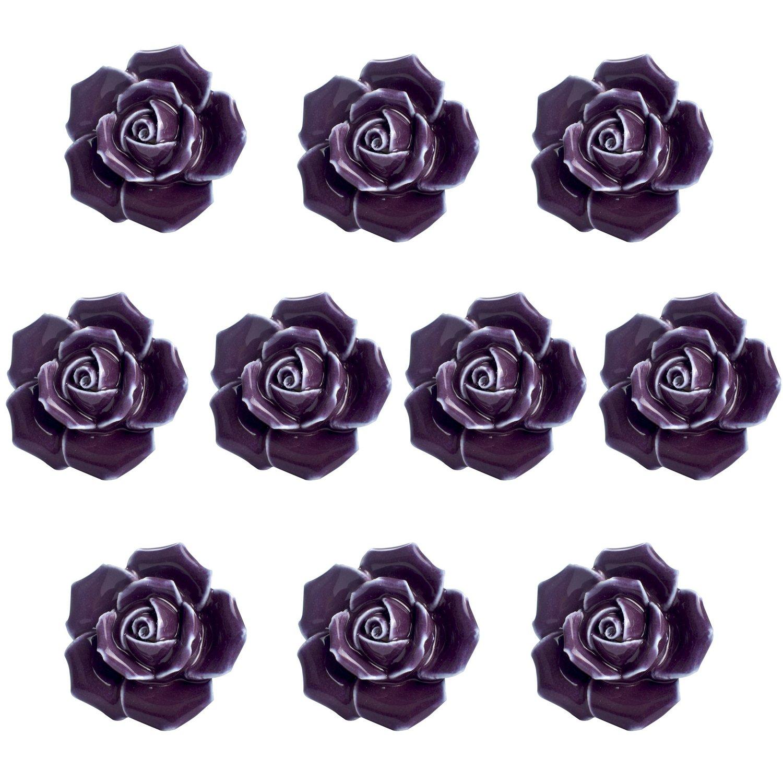 Agile-Shop 10 Pcs Ceramic Vintage Floral Rose Flower Door Knobs Handle Drawer Kitchen + Screws (Purple)