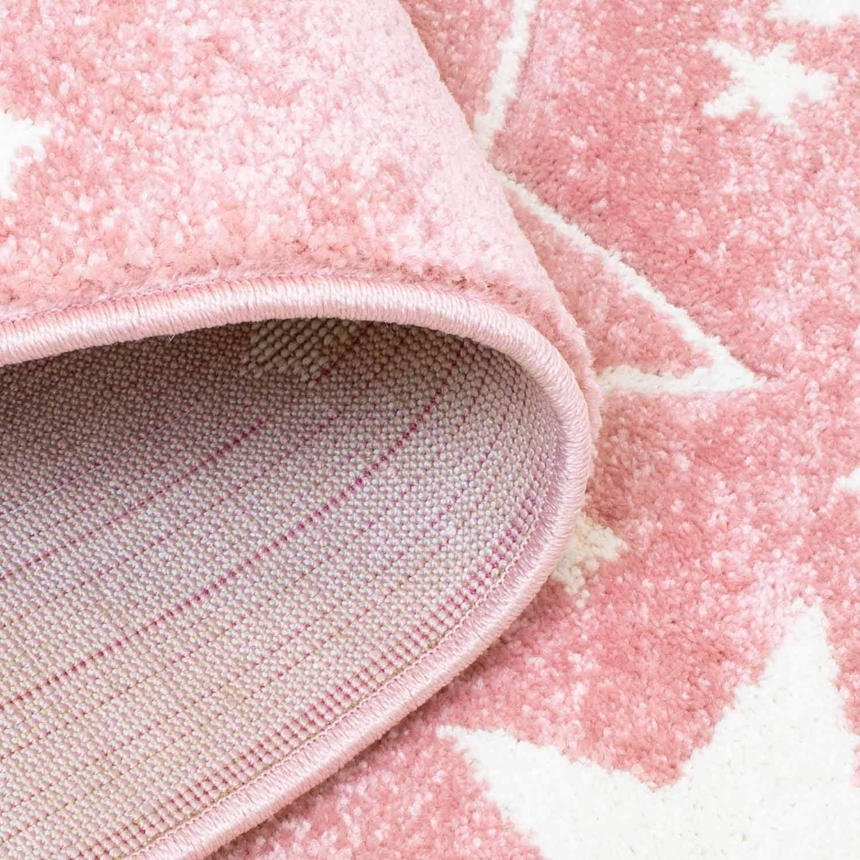 carpet city Kinderteppich-L/äufer Flachflor Bueno Konturenschnitt Glanzgarn mit Sterne in Creme f/ür Kinderzimmer Gr/ö/ße 80x150 cm