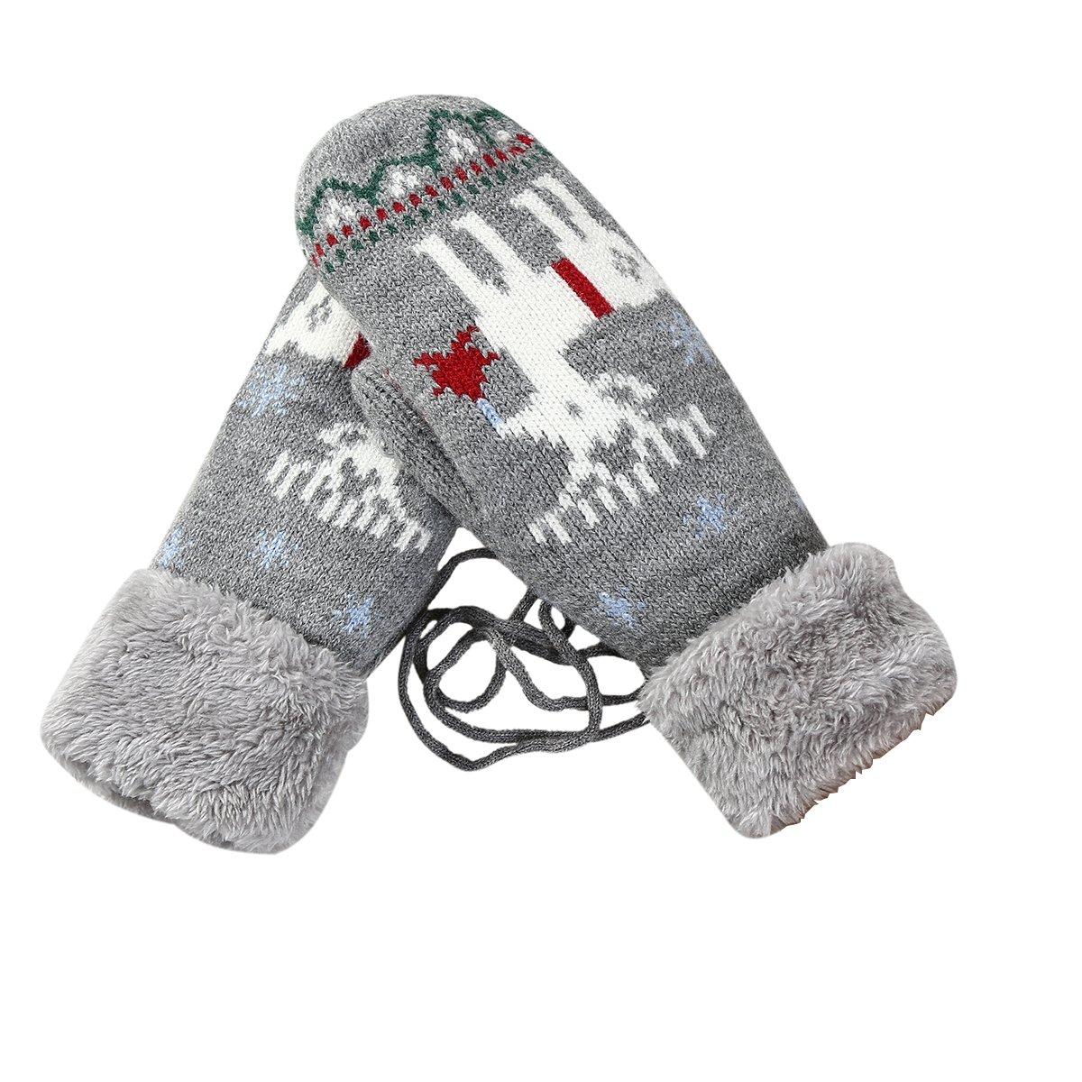 TININNA Hiver Épais Chaud Flocon de Neige Cerf Modèle Tricoté Gants Femmes Doux Peluche Doublure Tricoté Mitaines avec un Cadeau de Noël Camel