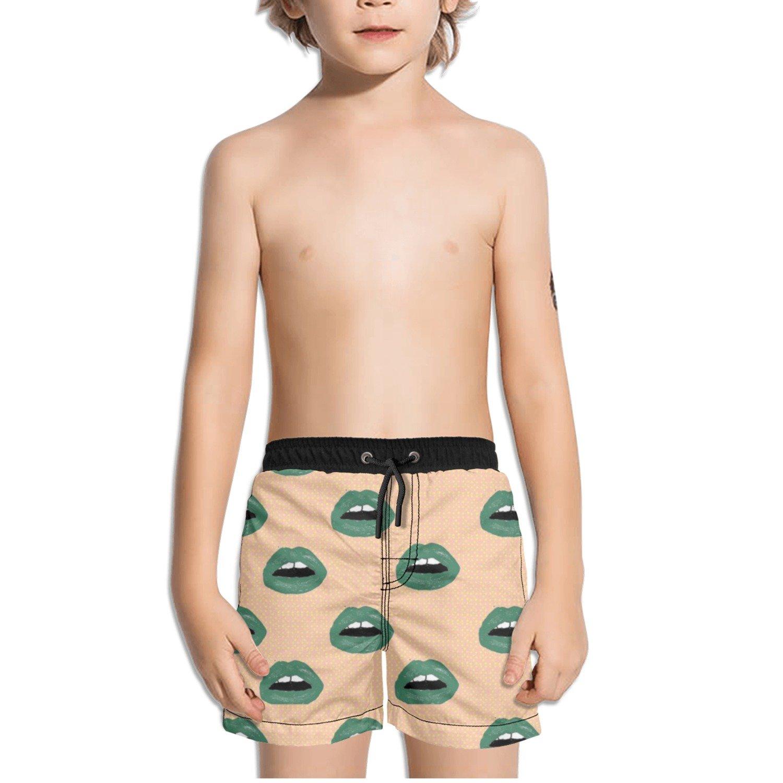 Ouxioaz Boys Swim Trunk Lip Art Broken Hearts Beach Board Shorts