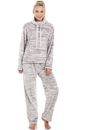 Camille Conjunto de Pijama Forro Polar Supersuave Estampado Jaspeado - Gris: Amazon.es: Ropa y accesorios