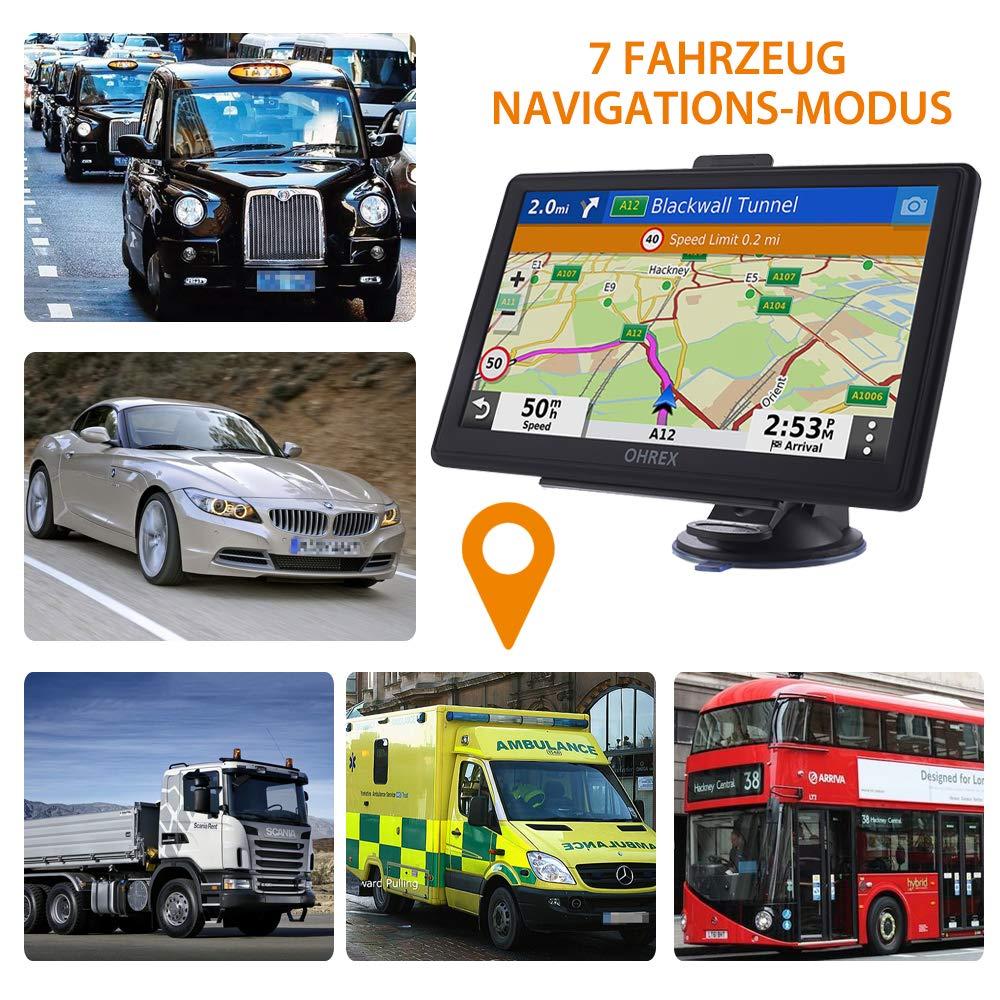 OHREX Navigationsger/ät f/ür Auto LKW PKW Navi 7 Zoll 16GB Lebenslang Kostenlose Kartenupdate GPS Navigation mit POI Blitzerwarnung Sprachf/ührung Fahrspurassistent 2019 Europa UK Welt Karten