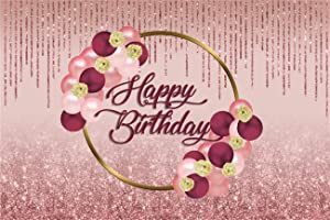 Yeele 5x3ft Rose Gold Birthday Backdrop for Girl Woman Glitter Shiny Sequins for Birthday Photogrphy Backgrounds Woman Birthday Party Cake Food Table Decoration Girl Lady Portrait Phtoshoot Props