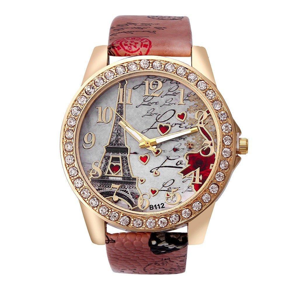 Xujianguo XJG Tower Vogue New Women Fashion Bright Faux Leather Strap Watches Big Digit Ladies Wrist Quartz Watch Dress Watch Woman Wristwatch Red one size