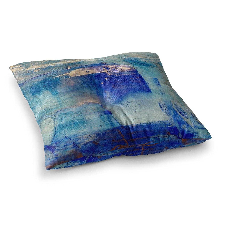 23 x 23 Square Floor Pillow Kess InHouse Malia Shields Blue White Painting