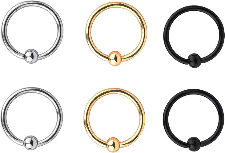 Great my shop 16G Stainless Steel Nose Septum Horseshoe Hoop Earring Eyebrow Tragus Lip Piercing Ring 8mm